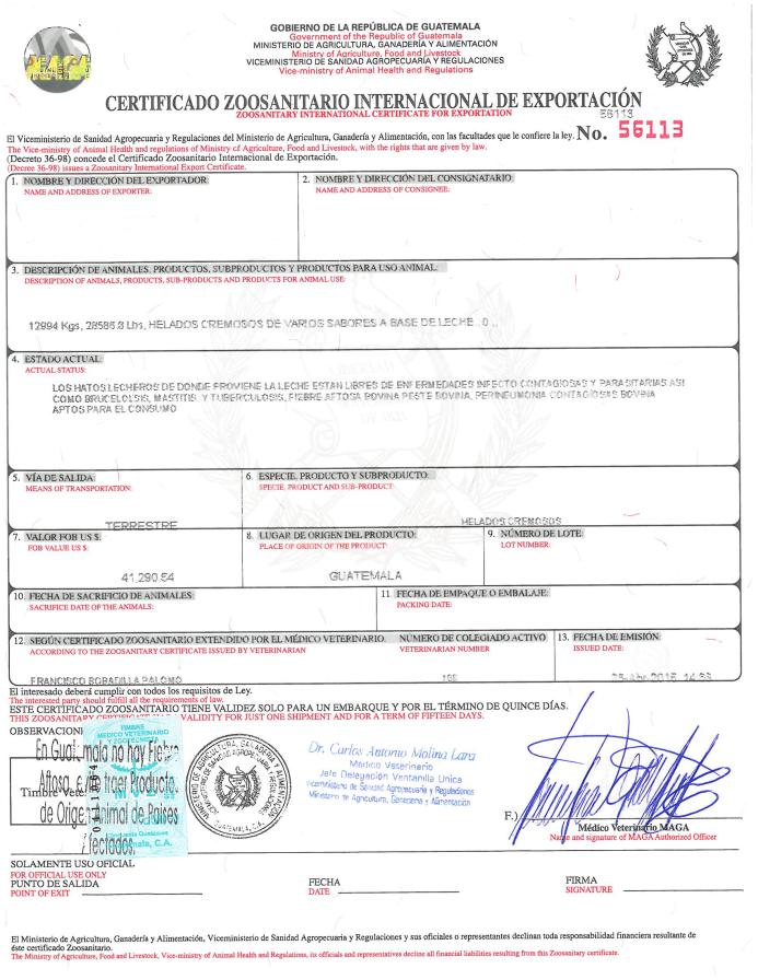 Certificado Zoosanitario Internacional de Exportación