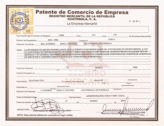Patente De Empresa