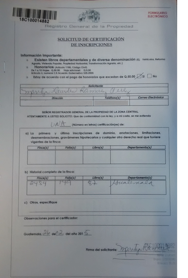 Certificación del Registro de la Propiedad
