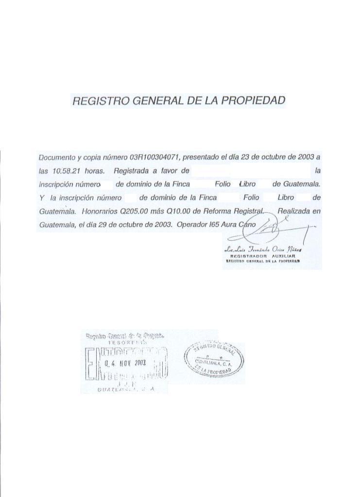 informacion registro de la propiedad:
