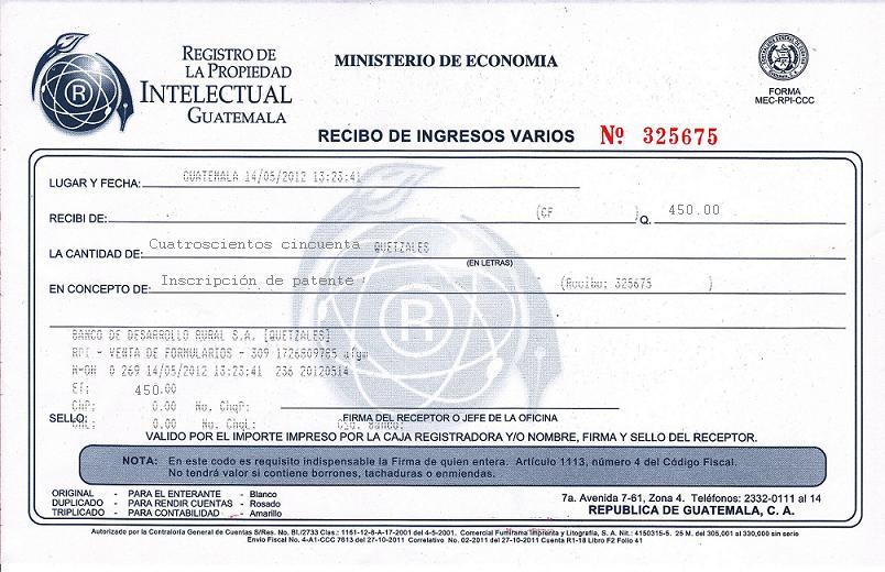 01 recibo de pago de inscripci n de patente for Oficinas del registro de la propiedad