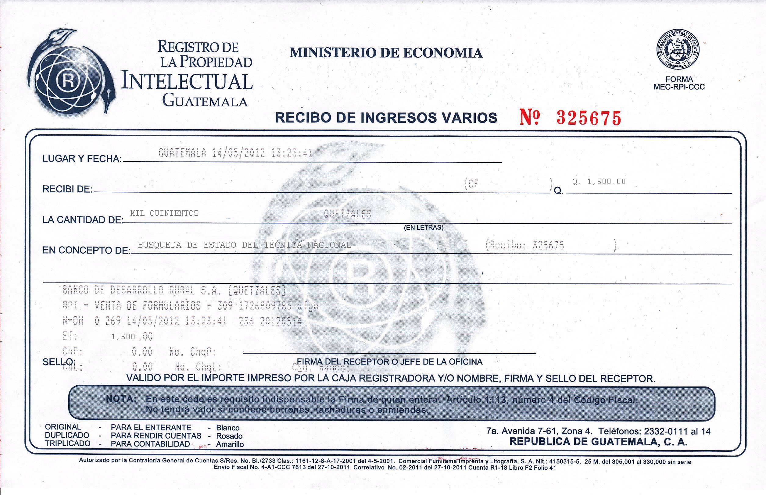 Recibo De Pago Ejemplo